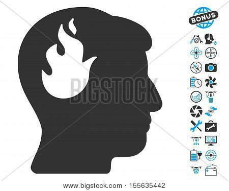 Brain Fire icon with bonus flying drone service graphic icons. Vector illustration style is flat iconic blue and gray symbols on white background.