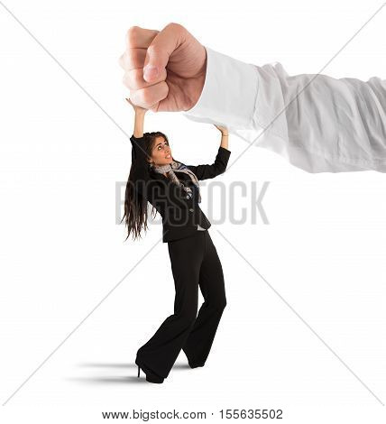 Big punch strikes a frightened small woman