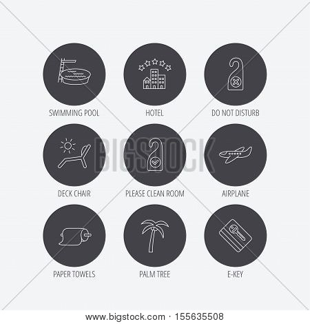 Hotel, swimming pool and beach deck chair icons. E-key, do not disturb and clean room linear signs. Paper towels, palm tree and airplane icons. Linear icons in circle buttons. Flat web symbols. Vector