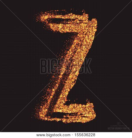 Vector grungy font 001. Letter Z. Abstract bright golden shimmer glowing round particles vector background. Scatter shine tinsel light effect. Hand made grunge shape design element