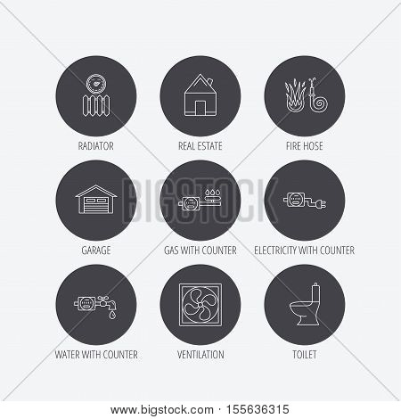 Ventilation, garage and heat radiator icons. Gas, water and electricity counter linear signs. Real estate, toilet and fire hose icons. Linear icons in circle buttons. Flat web symbols. Vector