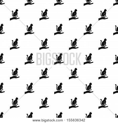 Hand holding a cat pattern. Simple illustration of hand holding a cat vector pattern for web
