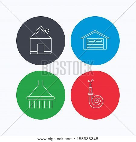 Real estate, garage and shower icons. Fire hose linear sign. Linear icons on colored buttons. Flat web symbols. Vector