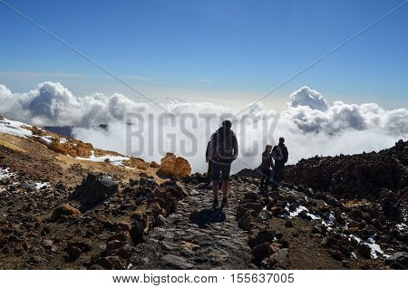 The top of the el teide volcao on tenerife, spain with hikers