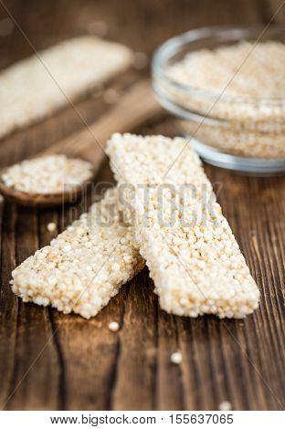 Quinoa Bars On A Wooden Table (selective Focus)