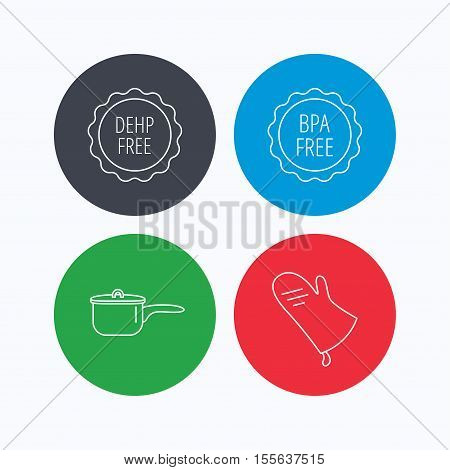 Saucepan, potholder and BPA free icons. DEHP free linear sign. Linear icons on colored buttons. Flat web symbols. Vector