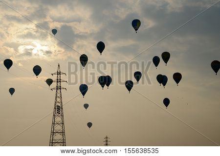 SAGA, JAPAN - NOVEMBER 05, 2016: 2016 Honda Grand Prix - Final Round of FAI World Hot Air Balloon Championship, Many air balloons in the sky.