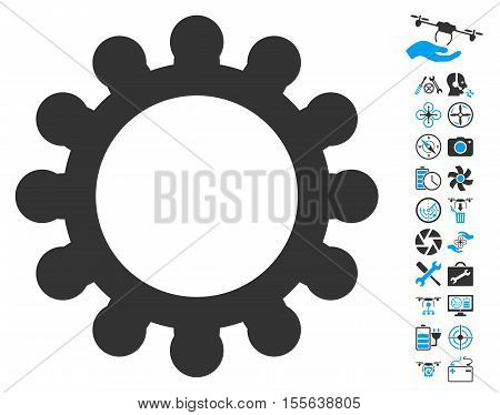 Gear pictograph with bonus uav service pictures. Vector illustration style is flat iconic blue and gray symbols on white background.