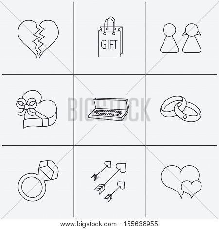 Love heart, gift box and wedding rings icons. Broken heart and couple linear signs. Valentine amour arrows flat line icons. Linear icons on white background. Vector