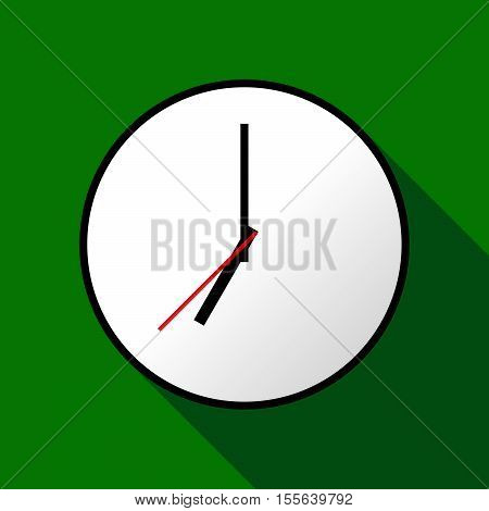 Clock icon, Vector illustration, flat design. Easy to use and edit. EPS10. Green background with shadow.