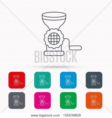 Meat grinder icon. Manual mincer sign. Kitchen tool symbol. Linear icons in squares on white background. Flat web symbols. Vector