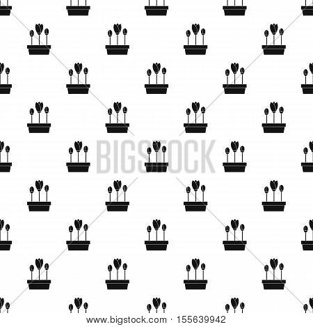 Tulips in planter pattern. Simple illustration of tulips in planter vector pattern for web