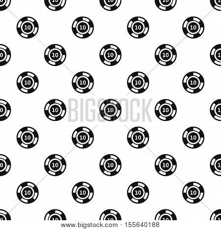Poker chip nominal 10 pattern. Simple illustration of poker chip nominal 10 vector pattern for web