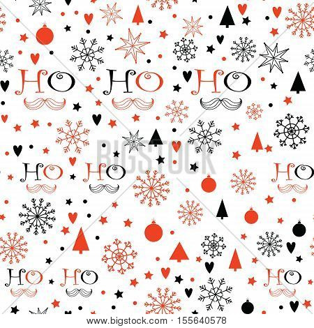 Christmas background with Ho Ho Ho lettering, Snowflakes, Christmas trees, Stars. Hand drawn design for winter holidays.