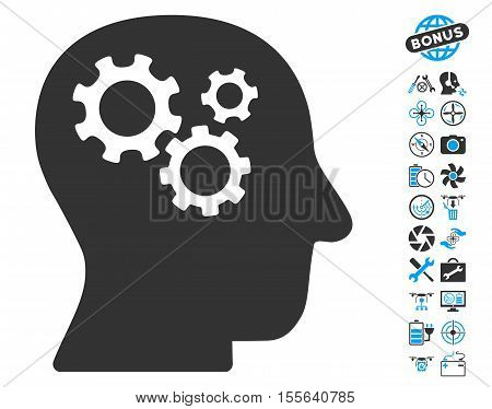 Intellect Gears icon with bonus flying drone tools pictures. Vector illustration style is flat iconic blue and gray symbols on white background.