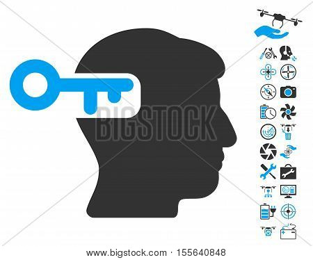 Intellect Key pictograph with bonus quad copter service pictograph collection. Vector illustration style is flat iconic blue and gray symbols on white background.