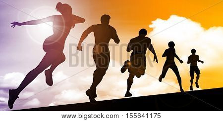 Running Abstract with Marathon Runners Racing in a Line 3D Illustration Render