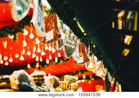 Background with gingerbreads at the Christmas market in Salzburg Austria. Holidays Christmas Family Winter concept.