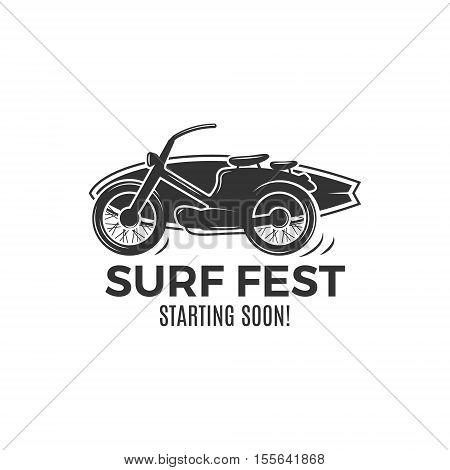 Vintage Surfing tee design. Retro Surf fest tshirt Graphics and Emblem for web design or print. Surfer motorcycle logo design. Surf Badge. Surfboard grunge seal, elements, symbols. Monochrome. .