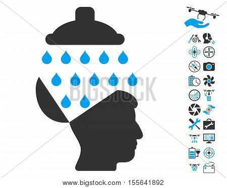 Open Brain Shower pictograph with bonus uav service design elements. Vector illustration style is flat iconic blue and gray symbols on white background.