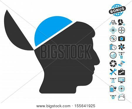Open Brain pictograph with bonus drone service design elements. Vector illustration style is flat iconic blue and gray symbols on white background.