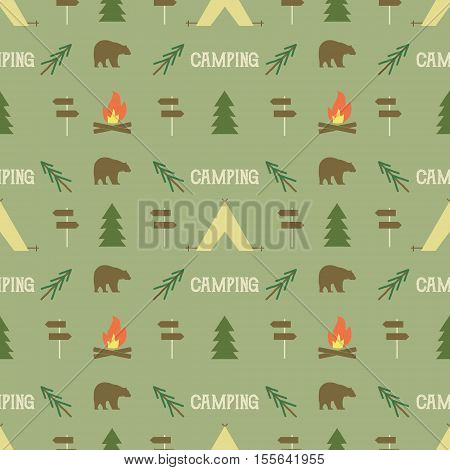Camping elements pattern. Camping seamless wallpaper design. Equipment for camping background for print. Adventure or camping gear pattern- tent, bear, tree, bonfire. Nature pattern design. .