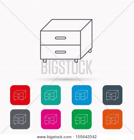 Nightstand icon. Bedroom furniture sign. Linear icons in squares on white background. Flat web symbols. Vector