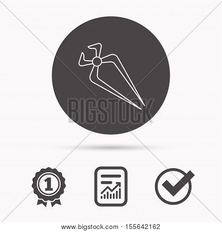 Nippers icon. Repairing service tool sign. Report document, winner award and tick. Round circle button with icon. Vector
