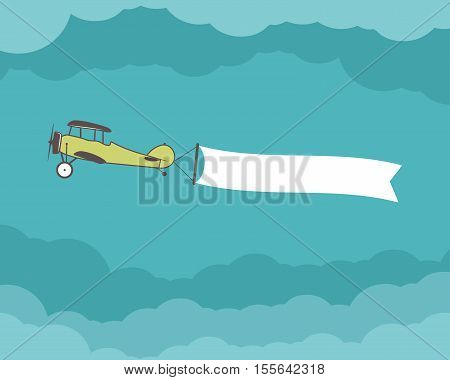 Airplane with banner, empty form for quote, text, slogan, motivation signs. Retro biplane emblem. Aviation brochure, flyer. Travel company flyer layout template. .