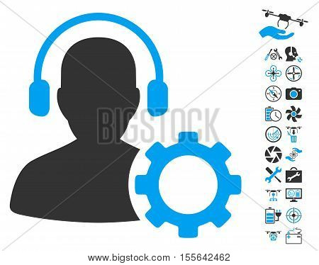 Operator Configuration Gear icon with bonus drone tools design elements. Vector illustration style is flat iconic blue and gray symbols on white background.
