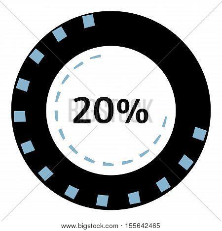 Web preloader 20 percent icon. Flat illustration of web preloader vector icon for web design