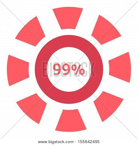 Web preloader 99 percent icon. Flat illustration of web preloader vector icon for web design