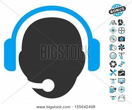 Operator Head pictograph with bonus aircopter tools pictograph collection. Vector illustration style is flat iconic blue and gray symbols on white background.
