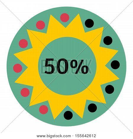 Web preloader 50 percent icon. Flat illustration of web preloader vector icon for web design