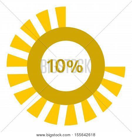 Web preloader 10 percent icon. Flat illustration of web preloader vector icon for web design