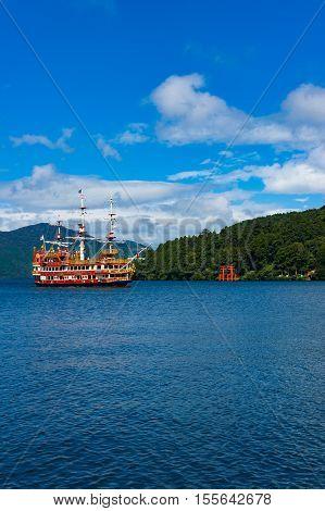 Pirate Ship And Torii Gate On Ashi Lake