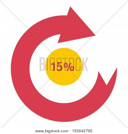 Loading circle 15 percent icon. Flat illustration of web preloader vector icon for web design
