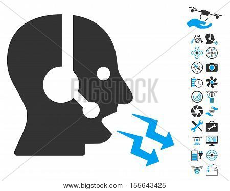 Operator Shout pictograph with bonus drone service clip art. Vector illustration style is flat iconic blue and gray symbols on white background.