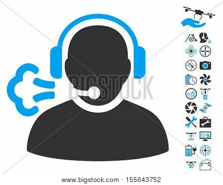 Operator Speech pictograph with bonus quad copter service graphic icons. Vector illustration style is flat iconic blue and gray symbols on white background.