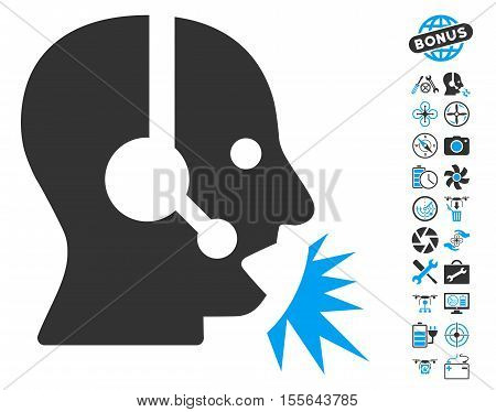 Operator Speech icon with bonus flying drone service clip art. Vector illustration style is flat iconic blue and gray symbols on white background.