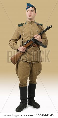 young paratrooper Soviet soldier with machine gun ww2