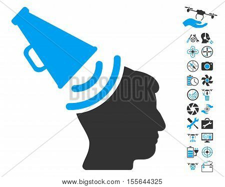 Propaganda Megaphone pictograph with bonus quadrocopter tools pictograms. Vector illustration style is flat iconic blue and gray symbols on white background.