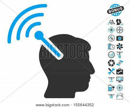 Radio Neural Interface icon with bonus aircopter tools pictures. Vector illustration style is flat iconic blue and gray symbols on white background.