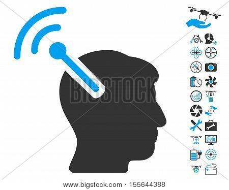Radio Neural Interface icon with bonus drone service icon set. Vector illustration style is flat iconic blue and gray symbols on white background.