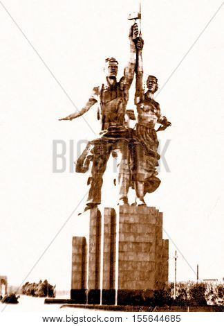 Moscow Russia - July 1962: Worker and Kolkhoz Woman Monument.