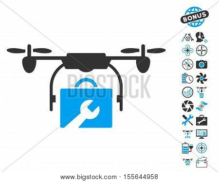 Service Drone pictograph with bonus drone tools pictograms. Vector illustration style is flat iconic blue and gray symbols on white background. poster