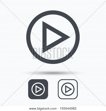 Play icon. Audio or Video player symbol. Square buttons with flat web icon on white background. Vector