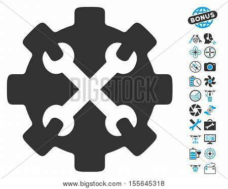 Service Tools icon with bonus uav service pictures. Vector illustration style is flat iconic blue and gray symbols on white background.