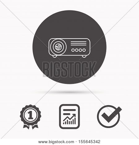 Projector icon. Video presentation device sign. Business office conference tool symbol. Report document, winner award and tick. Round circle button with icon. Vector