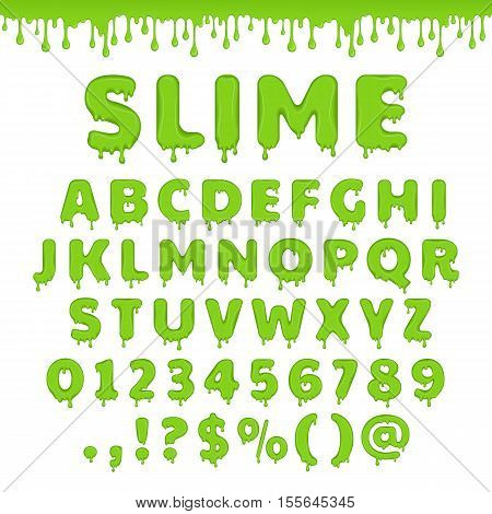 Green slime font. Alphabet with flow drops and goo splash. Vector latin abc. Liquid toxic radioactive text in zombie style. Numbers and symbols isolated on white background.